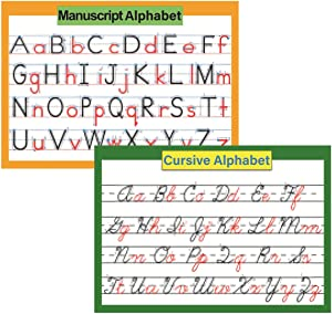 "ABC Alphabet Cursive & Manuscript Chart Poster for kids | Classroom Decorations Organization learning charts for toddlers -16"" x 23.6"""