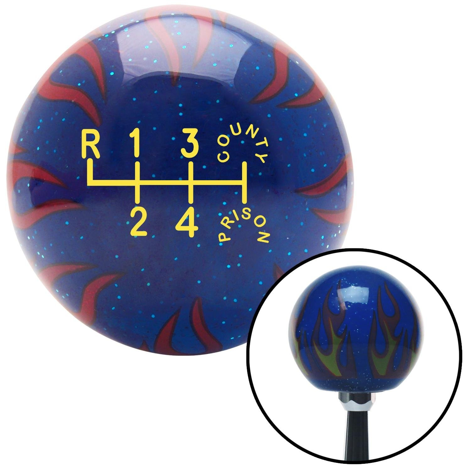 Yellow County Prison American Shifter 244123 Blue Flame Metal Flake Shift Knob with M16 x 1.5 Insert