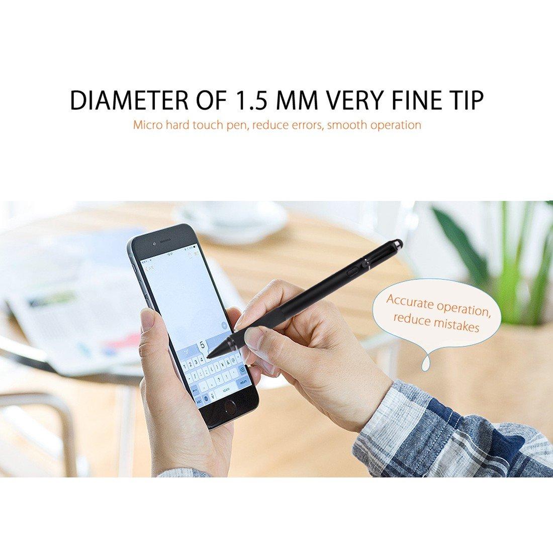 Stylus Precisi/ón Detecci/ón Activa Wrcibo Pluma Capacitiva Compatible con Todos los Dispositivos para iPhone iPad Samsung Huawei Lenovo etc Metal Extremidad de la Pluma