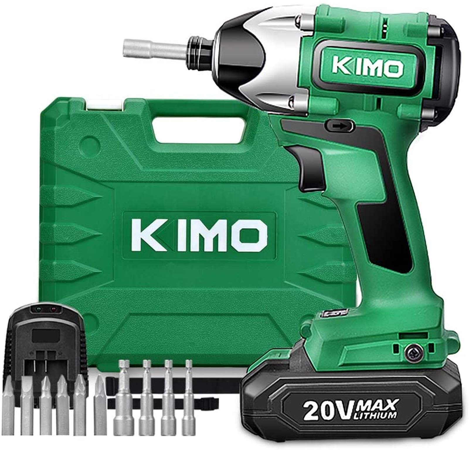 Impact Driver - 20V 2.0Ah Battery Brushless Cordless Impact Drill Kit w/ 2652in-lb 300NM Torque, 2800RPM Variable Speed, 6pc Driver Bits, 4pc Socket Bits, Power Tool Case, Lithium-Ion