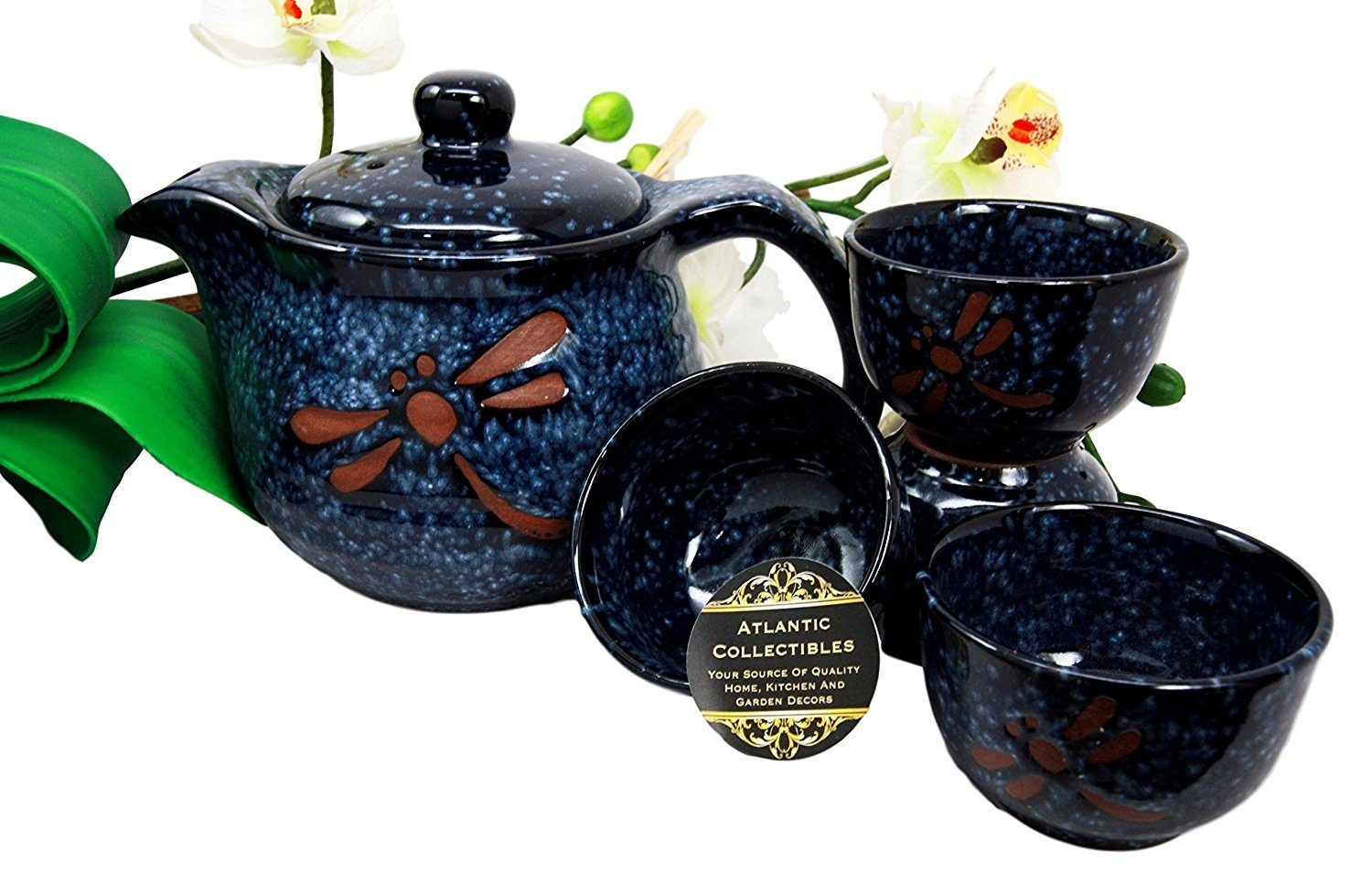 Atlantic Collectibles Japanese Tombo Dragonfly Blue Glazed Ceramic 20oz Tea Pot With Metal Strainer and Cups Set Serves 4 Beautifully Packaged in Gift Box COMINHKPR133740