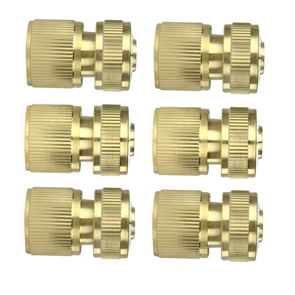 6Pcs Brass Garden Lawn Water Hose Pipe Fitting 1/2' Quick Connector Gardeningwill AHGRD000106