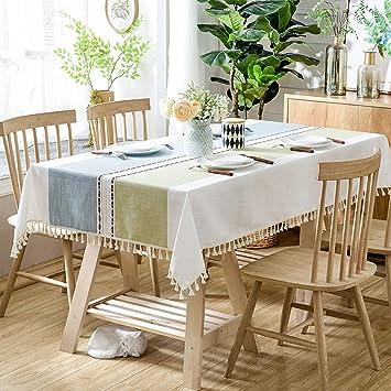 Amazon.com: Mantel de lino rectangular para mesa de comedor ...