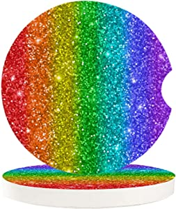 Chic D Drinks Car Coasters 2 Pack for Women/Men, Absorbent Ceramic Automotive Cup Holder Coaster Set, Rainbow Glitter Funny Car Accessories for Car Living Room Kitchen Office, Colorful