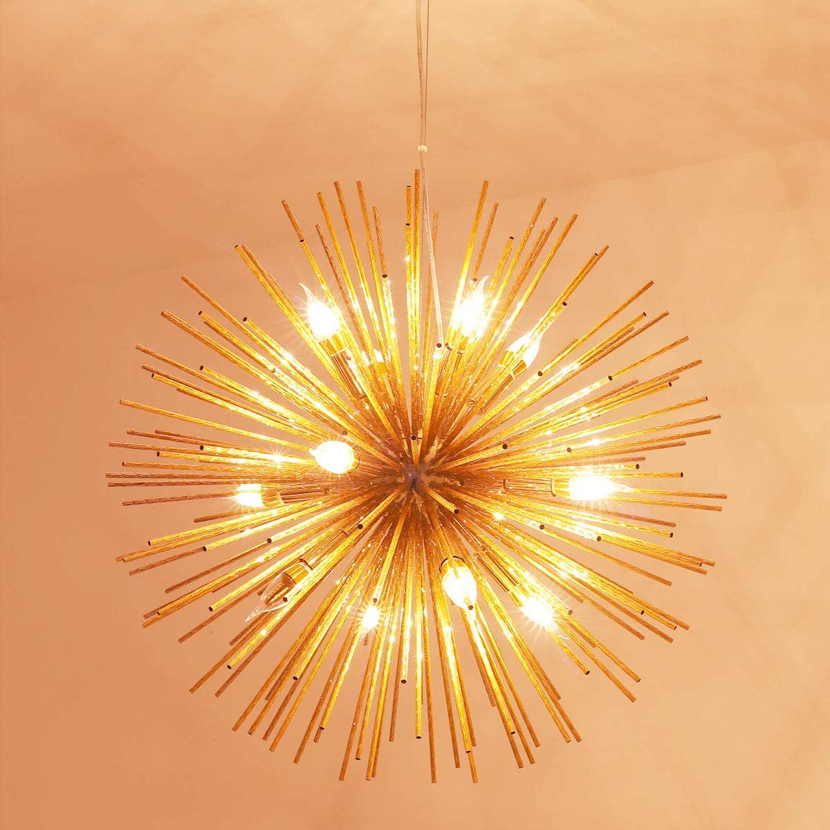 Jaycomey Firework Chandeliers,12-Light E12 Modern Rose Gold Pendant Lighting,Stanless Steel Ceiling Light Fixtures Wrought Aluminum Pendant Lamp