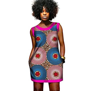 b3419c420bcc Amazon.com  African Clothing Dashiki Wax Mini Dress Women Printed Cotton  Wax Ladies Vestidos  Clothing