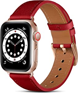Easuny Leather Band Compatible with Apple Watch Bands SE 44mm 42mm iWatch Series 6 5 4 3 2 1, Classical Soft Genuine Leather Strap Wristband Replacement Accessories for Women Men,Red