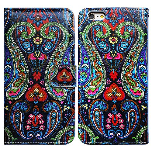 Bfun Packing Bcov Paisley Pattern Wallet Card Slot Leather Cover Case for iPod Touch 5 6
