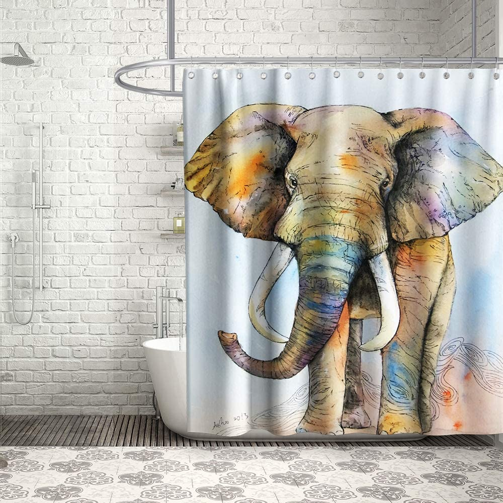 Final Friday Cute Grey Elephant Shower Curtain African Animal Boho Kids Theme Cloth Fabric Bathroom Decor Sets with Hooks Waterproof Washable 70 x 70 inches Blue Brown