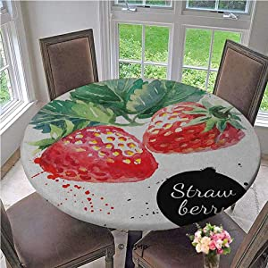 ThinkingPower Elasticized Tablecloth Appetizing Strawberries with Hand Drawn Style Brush Marks Good Eats Food Table Cover Very Durable, Worth The Money Fern Green Red Diameter - 31 Inch