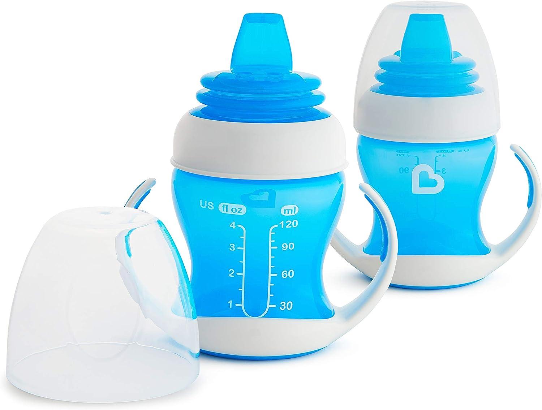 Munchkin - Vaso de Transición con Boquilla Blanda, 4oz / 118ml, Azul, pack de 2
