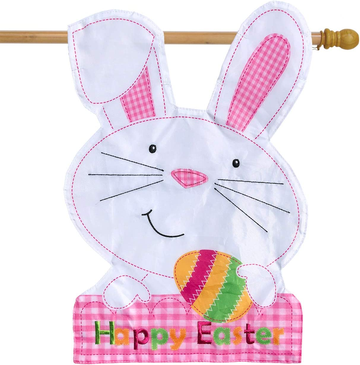 "Briarwood Lane Easter Bunny Applique House Flag Holiday Sculpted 28"" x 40"""