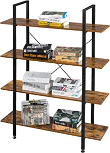 VINGLI Industrial Bookcase 4-Tier Vintage Etagere Bookshelf with Black Metal Frame and Rustic Brown Wood Open Book Shelf for Home Office Study