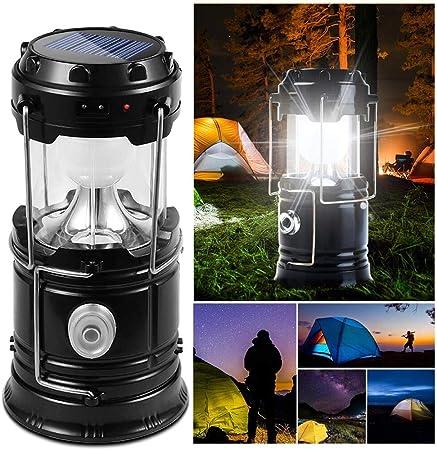 DAMIGRAM Lámparas de Acampada, Solar Lámpara Estirable de Luz LED Exterior Plegable Impermeable, Easy On & Off, para Camping, Vehículos, Cobertizos, ...