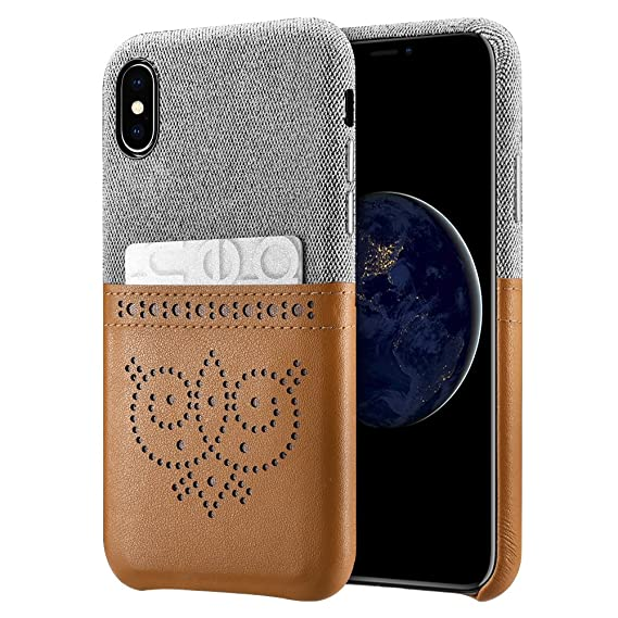 wholesale dealer d546e ed31f Xoomz iPhone X Wallet Case, iPhone Xs Leather case Premium Synthetic  Leather Slim Back Cover with Credit Card Holder for iPhone 10 5.8 Inch  (Brown)