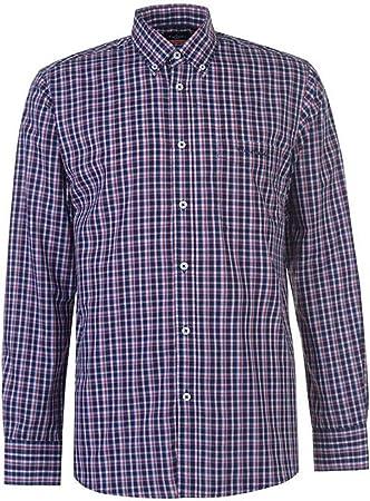 Camisa estampada de manga larga para hombre Pierre Cardin con bordado de firma.,Luce impecable en cu
