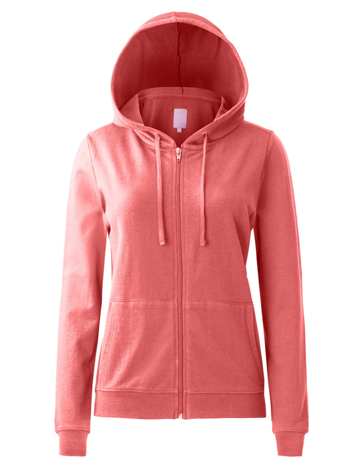 Regna X Women's Long Sleeve Knitted Casual Cotton Zip up Hoodie Jacket Coral L