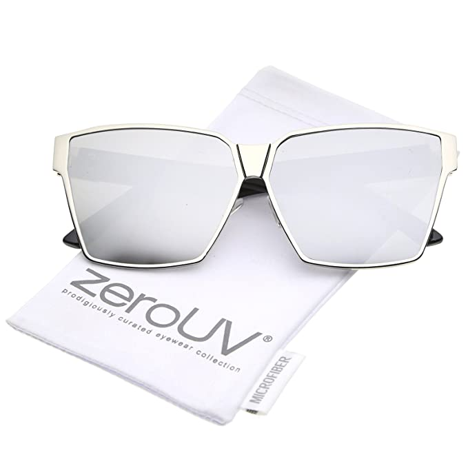 b43f6b74cfe Oversize Metal Accent Horn Rimmed Colored Mirror Flat Lens Square Sunglasses  63mm
