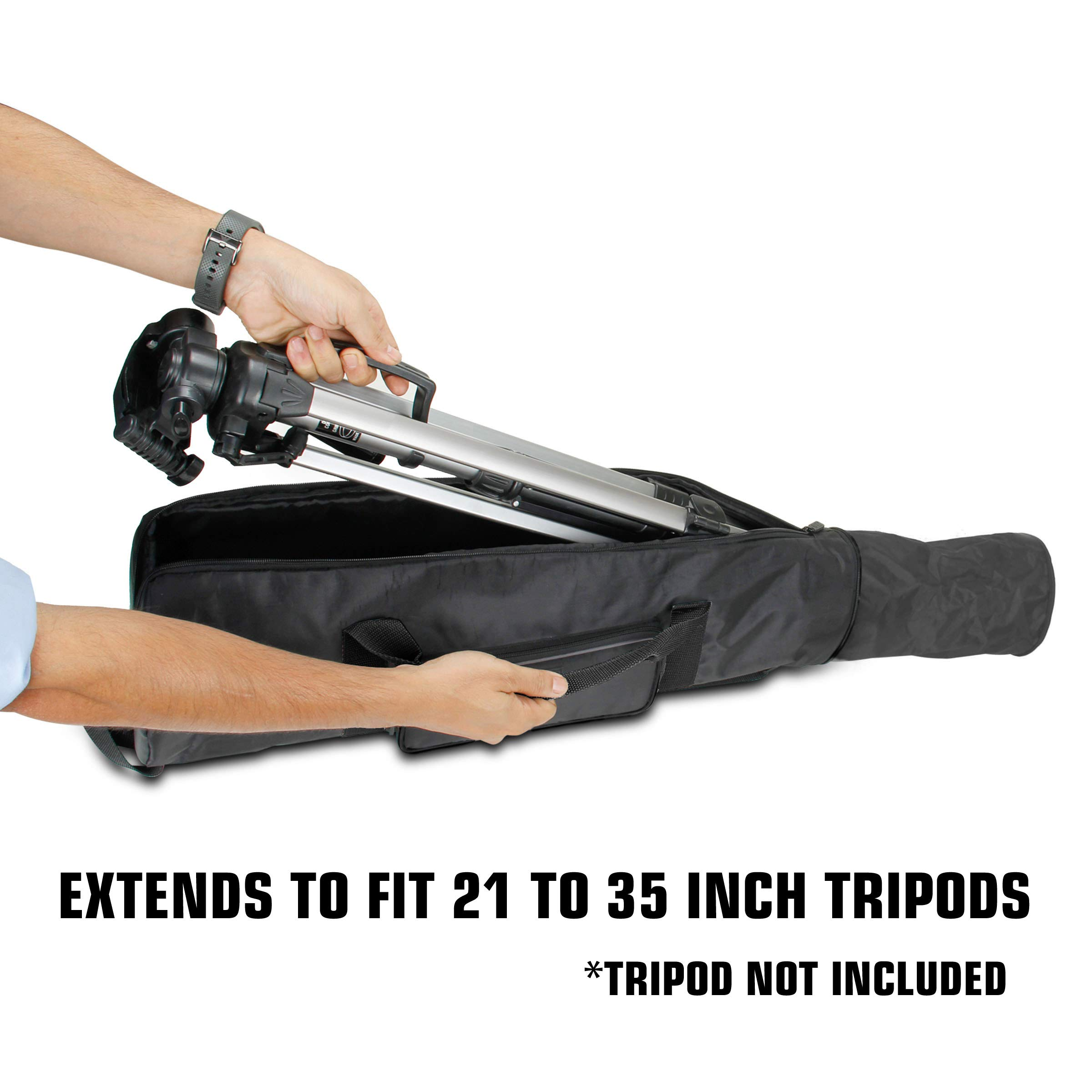 USA Gear Padded Tripod Case Bag - Holds Tripods from 21'' to 35'' Folded with Shoulder Strap, Adjustable Size Extension and Storage Pocket for Professional Camera Accessories and Photo Carrying Needs by USA Gear (Image #4)
