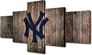 "TUMOVO 5 Panel Canvas Wall Art New York Yankees Logo Painting USA Baseball Team Wall Poster League Picture Modern Home Decor Living Room Wooden Framed Stretched Ready to Hang 50"" Wx24 H"
