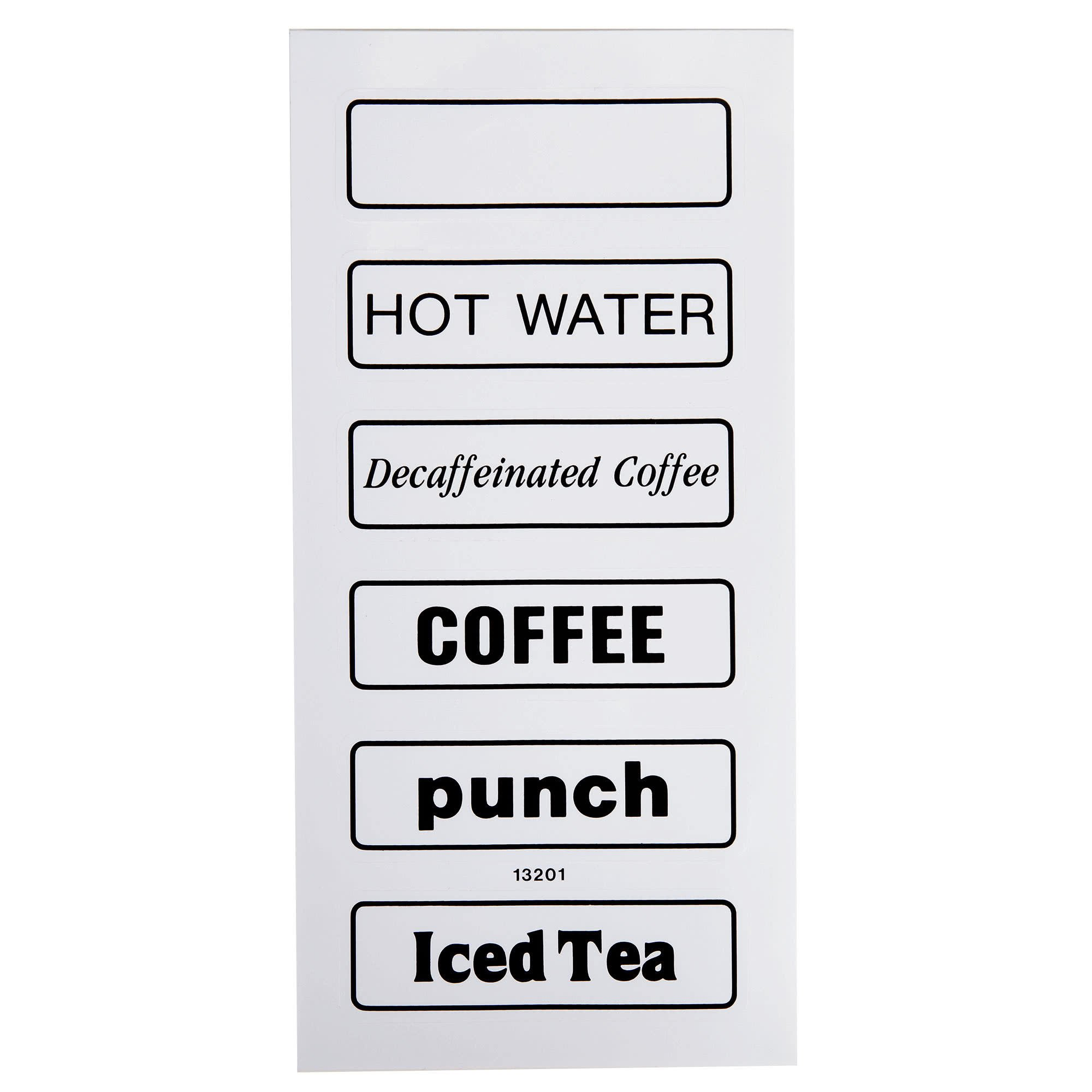 TableTop King 13201 Small Label Set for Beverage Dispensers - 6/Set