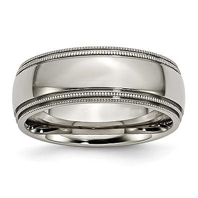 Titanium Grooved Ridged Edge 8mm Brushed Wedding Ring Band Size 8.50 Fashion Jewelry & Watches