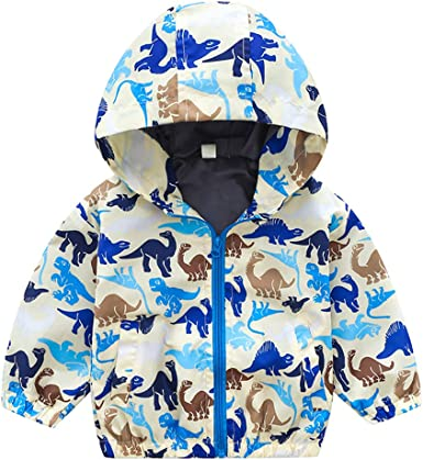 Hot Infant Baby Girls Boys Hooded Dinosaur Stripe Print Jacket Fall Coat Outwear Clothes