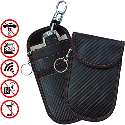 RFID Signal Blocking Keyless Entry Car Key Fob Pouches Universal Protection 2 Pieces Car Key Signal Blocking Pouch Anti Theft Fob Protector Pouch Block RFI//WiFi//GSM//LTE Black and Pink