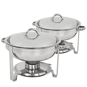 ZENY Pack of 2 Round Chafing Dish Full Size 5 Quart Stainless Steel Deep Pans Chafer Dish Set Buffet Catering Party Events Warmer Serving Set Utensils w/Fuel Holder
