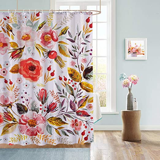 Waterproof Fabric Shower Curtain Liner 12 Hooks Blue Pastel Flowers Bathroom Mat