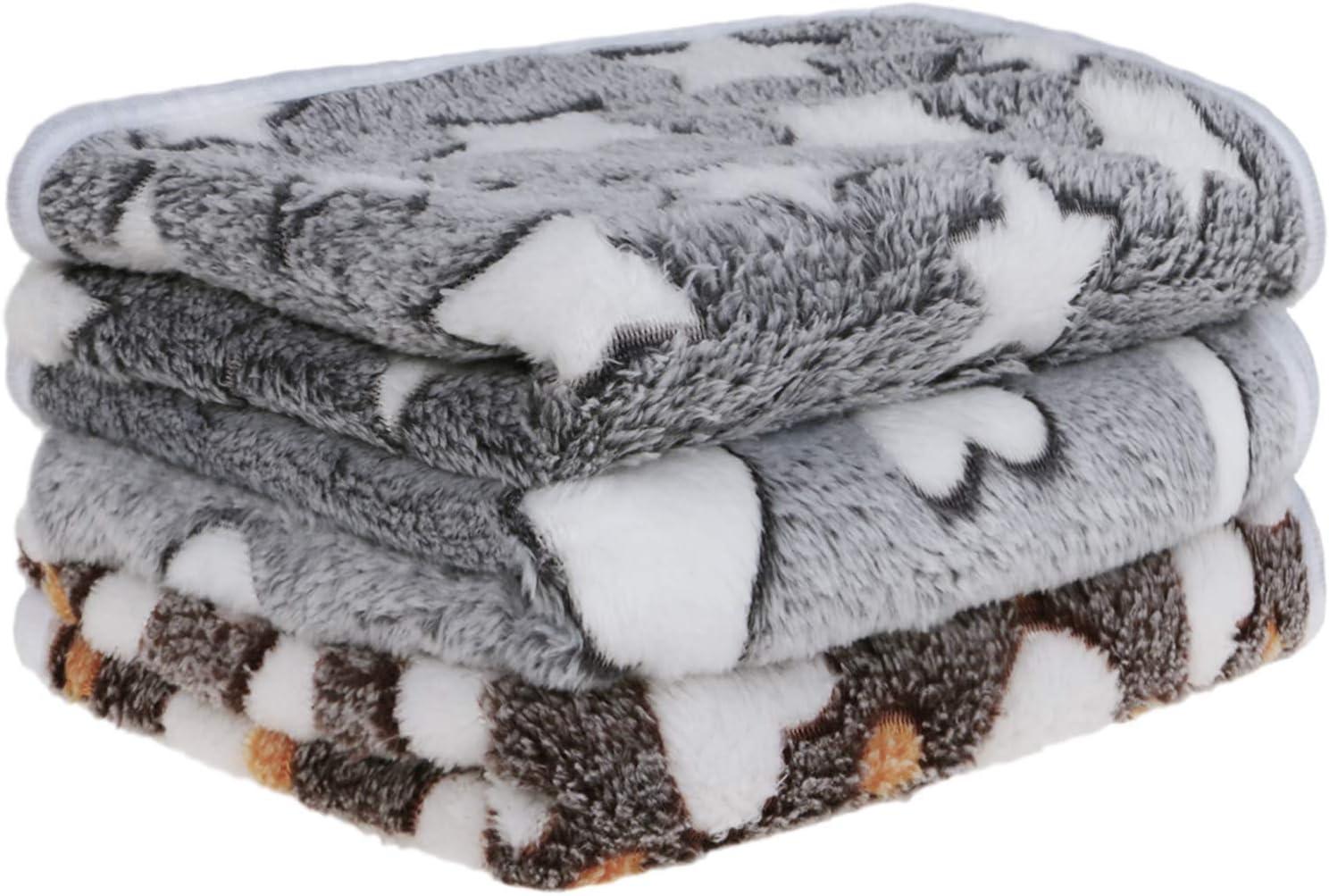 Petsvv 3 Pack Dog Blanket, Soft Fleece Flannel Throw Dog Blanket, Warm Pet Blankets for Cat & Small Dog, Grey Series : Pet Supplies