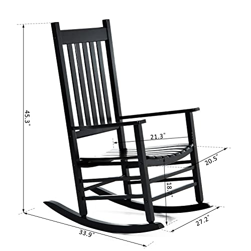 350 Lbs Heavy Duty Durable Solid Wood Rocking Chair Porch Rocker Indoor Outdoor Deck Patio Backyard with Wide Seat and Armrest Perfect for Back Yard, Balcony, Porch, Pools – Black