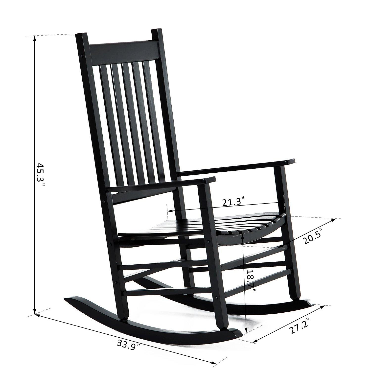 Outsunny Porch Rocking Chair - Outdoor Patio Wooden Rocker - Black by Outsunny (Image #7)