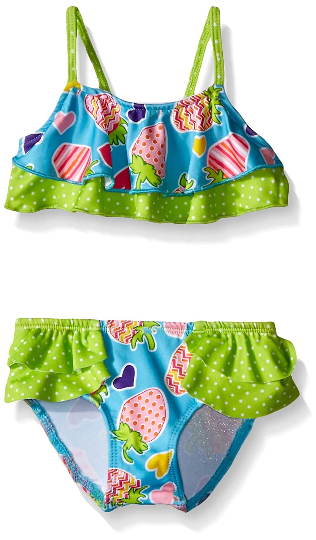 bd35dc3239bc8 All over strawberry printed two piece swim suit. Layered ruffle bikini top.  Brief bikini bottom. UV protection