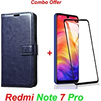 Goelectro Redmi Note 7 Pro / Note7 Pro (Combo Offer) Leather Dairy Flip Case Stand with Magnetic Closure & Card Holder Cover + 6D Curved Tempered Glass Screen Protector (Blue Flip)