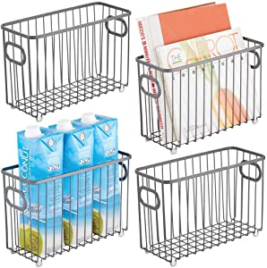 mDesign Metal Farmhouse Kitchen Pantry Food Storage Organizer Basket Bin - Wire Grid Design for Cabinet, Cupboard, Shelf, Countertop - Holds Potatoes, Onions, Fruit - Small, 4 Pack - Graphite Gray