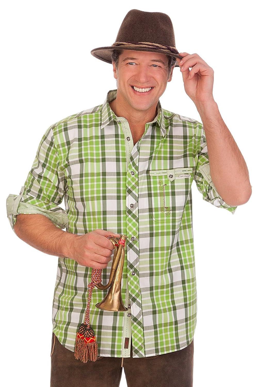 H1505 - Trachtenhemd mit Krempelarm - WALTER - grün, aubergine