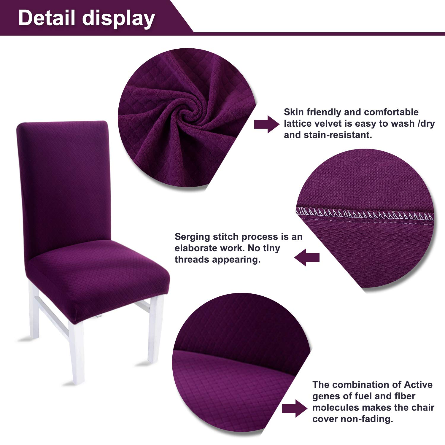 LAIKEUP Dining Room Chair Covers Set Of 4 Purple Spandex Stretch Fabric Seat Protector Removable Washable Elastic Slipcover For Home