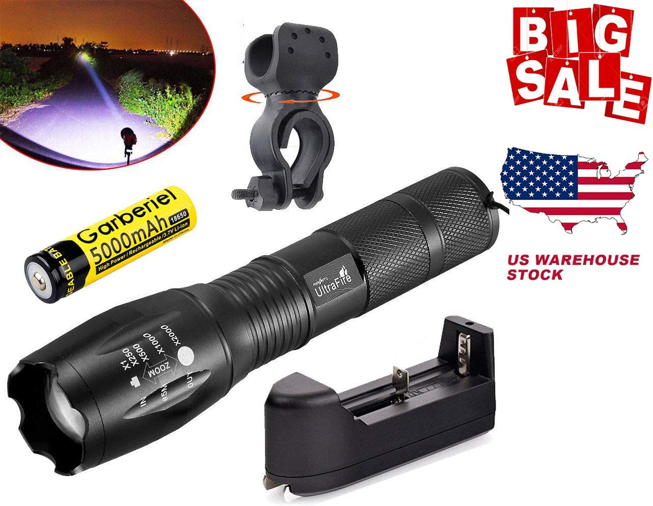 UltraFire Ultrafire Tactical 15000LM T6 Power LED Zoomable Flashlight 18650 Charger USA 1x Torch 1x Battery 1x Charger 1xBicycle Clip