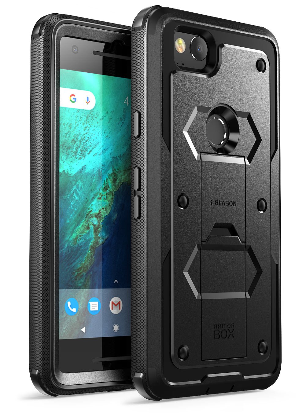 Google Pixel 2 Case, [Armorbox] i-Blason built in [Screen Protector] [Full body] [Heavy Duty Protection ] [Kickstand] Shock Reduction/Bumper Case for Google Pixel 2 2017 Release (Black)