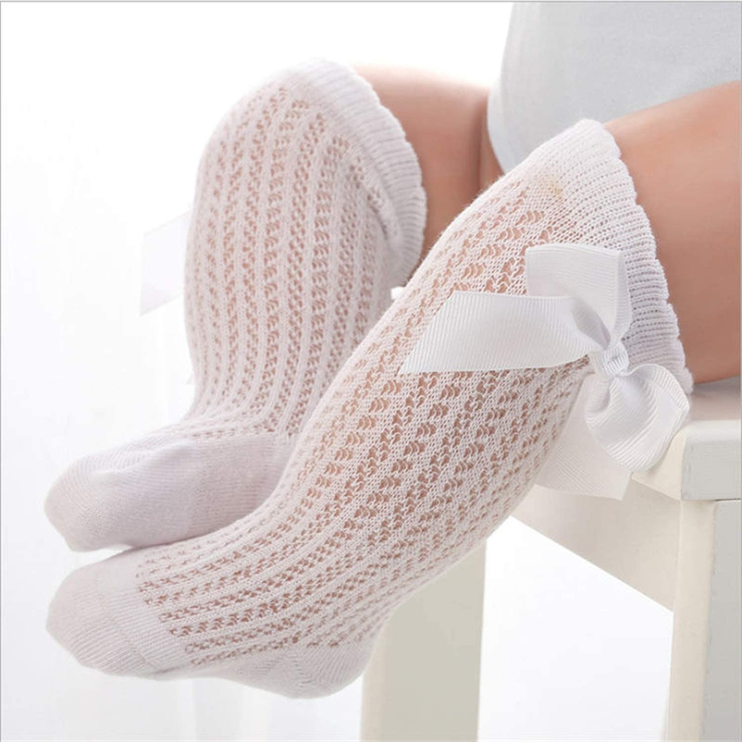 baby girls socks summer mesh socks with bow over knee high longprincess infant cotton,white beige yellow,24M