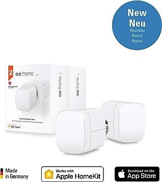 blanco non occorrono bridge o gateway controles t/áctiles integrados Apple HomeKit Eve Thermo pantalla LED x2 Set - V/álvula termost/ática para radiador