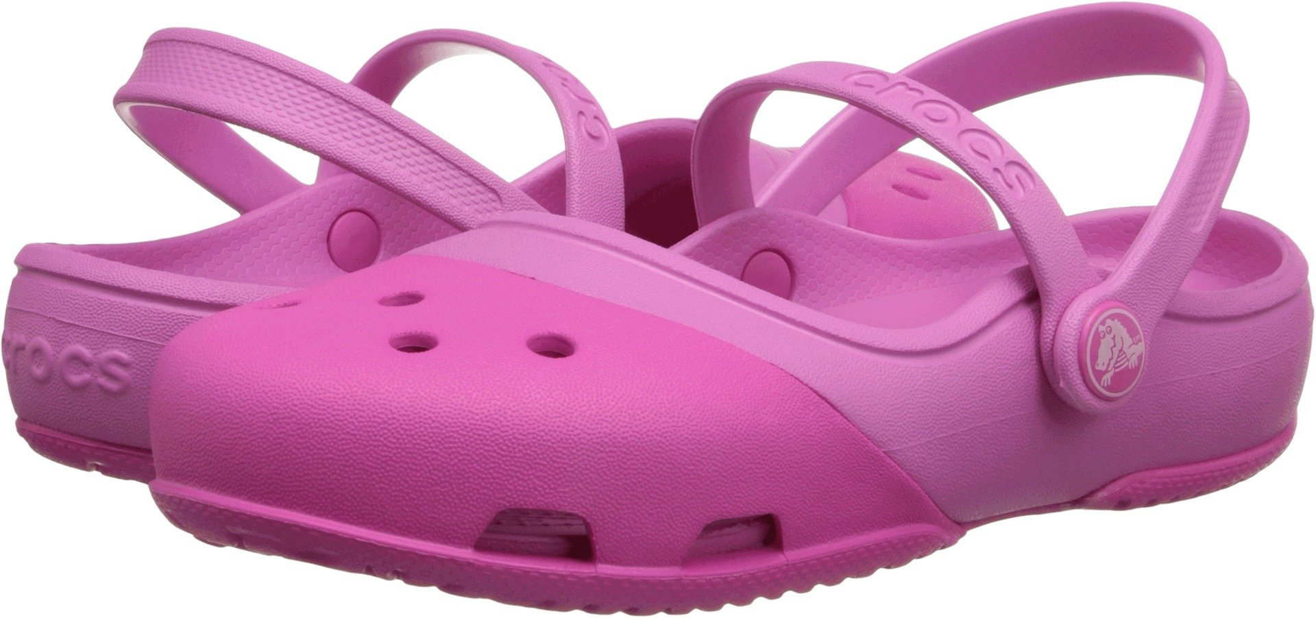 Crocs - Girls Electro II MJ PS Clogs, Size: 4 M US Toddler, Color: Neon Magenta/Party Pink