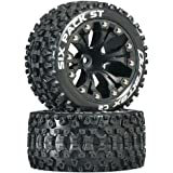"Duratrax DTXC3562 Six Pack RC Staduim Truck Tires with Foam Inserts, C2 Soft Compound, ST 2.8"" Mounted on 1/2"" Offset Black Wheels (2 Tires)"