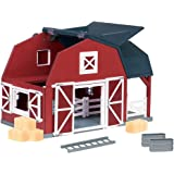 Terra by Battat – Wooden Toy Barn – Farm Animal Toys Playset with Wood Barn, Toy Horse Stable, Removable Loft, Pulley…