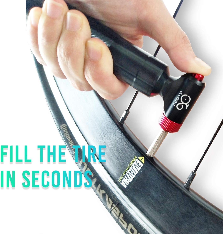 Cycplus Mini bomba de aire para bicicleta de CO2 compatible con Presta y Schrader con dep/ósito de metal para bicicletas de carretera y de monta/ña