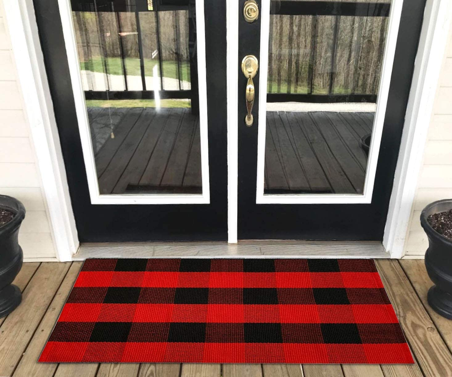 "Buffalo Plaid Rug - YHOUSE Checkered Indoor/Outdoor Door Mat Outdoor Doormat for Front Porch/Kitchen/Laundry Room Welcome Layered Mat (23.6""X35.4"", Red and Black Plaid)"