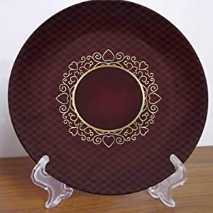 LCGGDB 7 Inch Burgundy Pattern Ceramic Decorative Plate,Hearts Floral Swirls Retro Round Porcelain Ceramic Plate Decor Accessory for Dining, Parties, Wedding