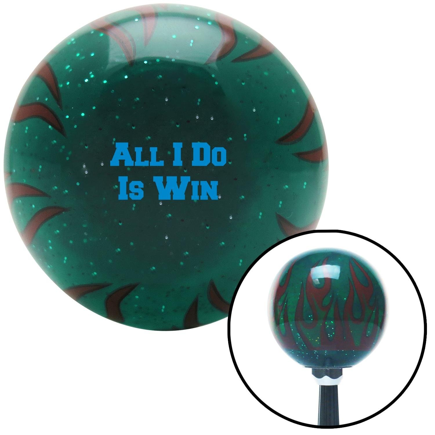American Shifter 300175 Shift Knob Blue All I Do is Win Green Flame Metal Flake with M16 x 1.5 Insert