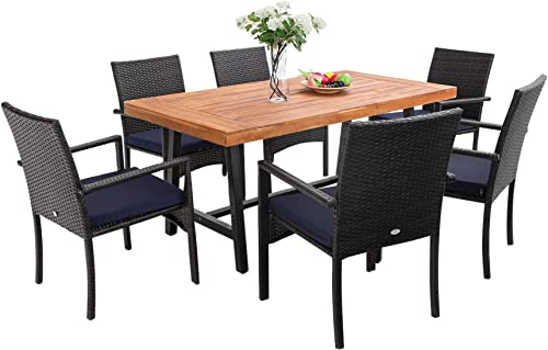 PHI VILLA 7 PCS Outdoor Patio Bistro Dining Set